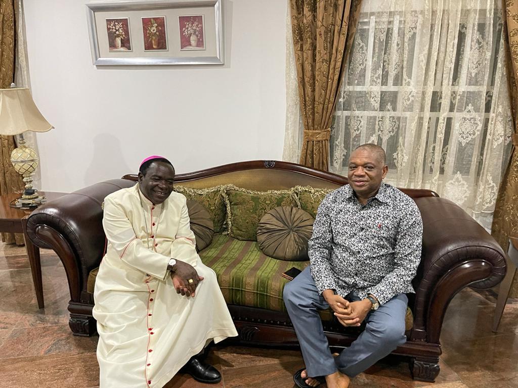 Bishop Kukah Pays A Courtesy Visit To Senate Chief Whip, OrJi Kalu