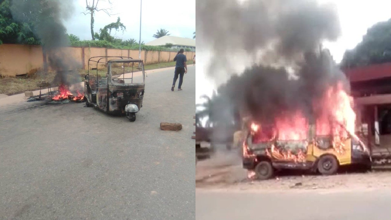 Sit-at-home: Unknown Men set tricycle, passenger bus ablaze in Anambra