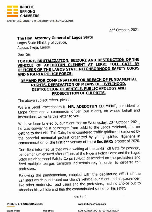 EndSARS: Uber Driver, Adedotun Clement Sues Lagos Government For N500m