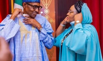 Buhari & Wife, Aisha Share A Close Moment Together At The State House
