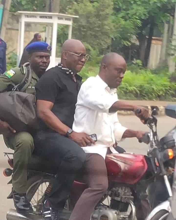Lagos traffic: Former Gov Fayose rides on okada [PHOTOS]