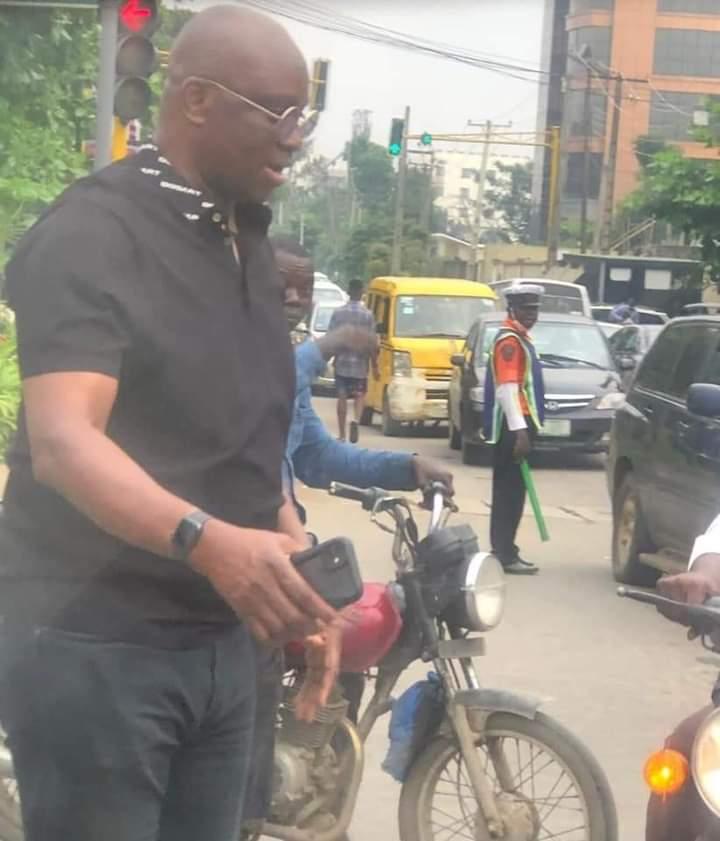 Lagos traffic: Former Gov Fayose rides on okada