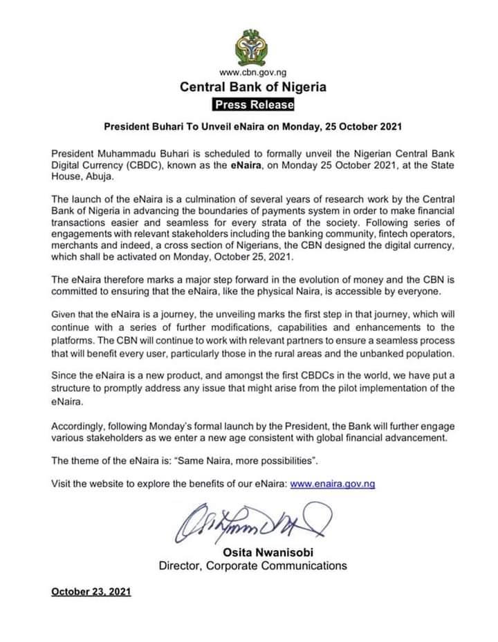 Buhari To Unveil eNaira On Monday 25 October 2021